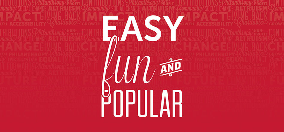 Easy Fun And Popular Over Red Background