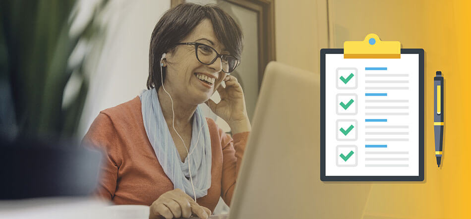 Woman Looking At Her Computer Smiling With Checklist Icon In Front