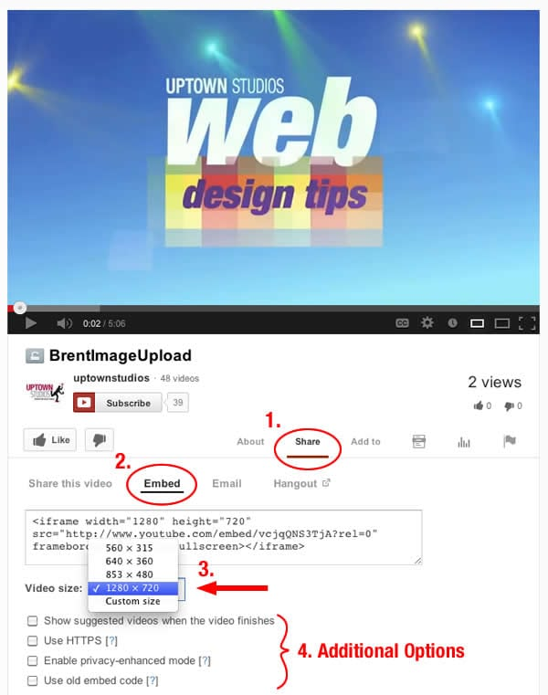 A computer screenshot of how to embed a video using YouTube