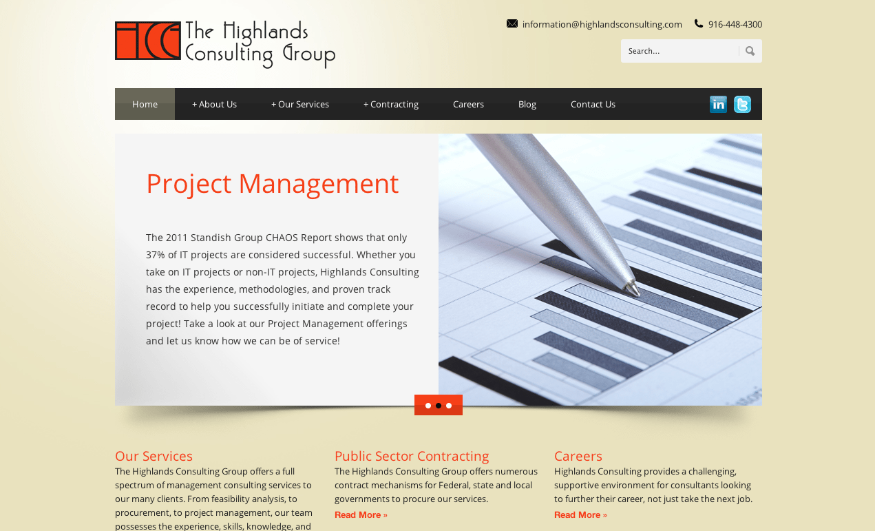 The Highlands Consulting Group Screenshot Of Their Website's Homepage With Project Management And Bronze Background