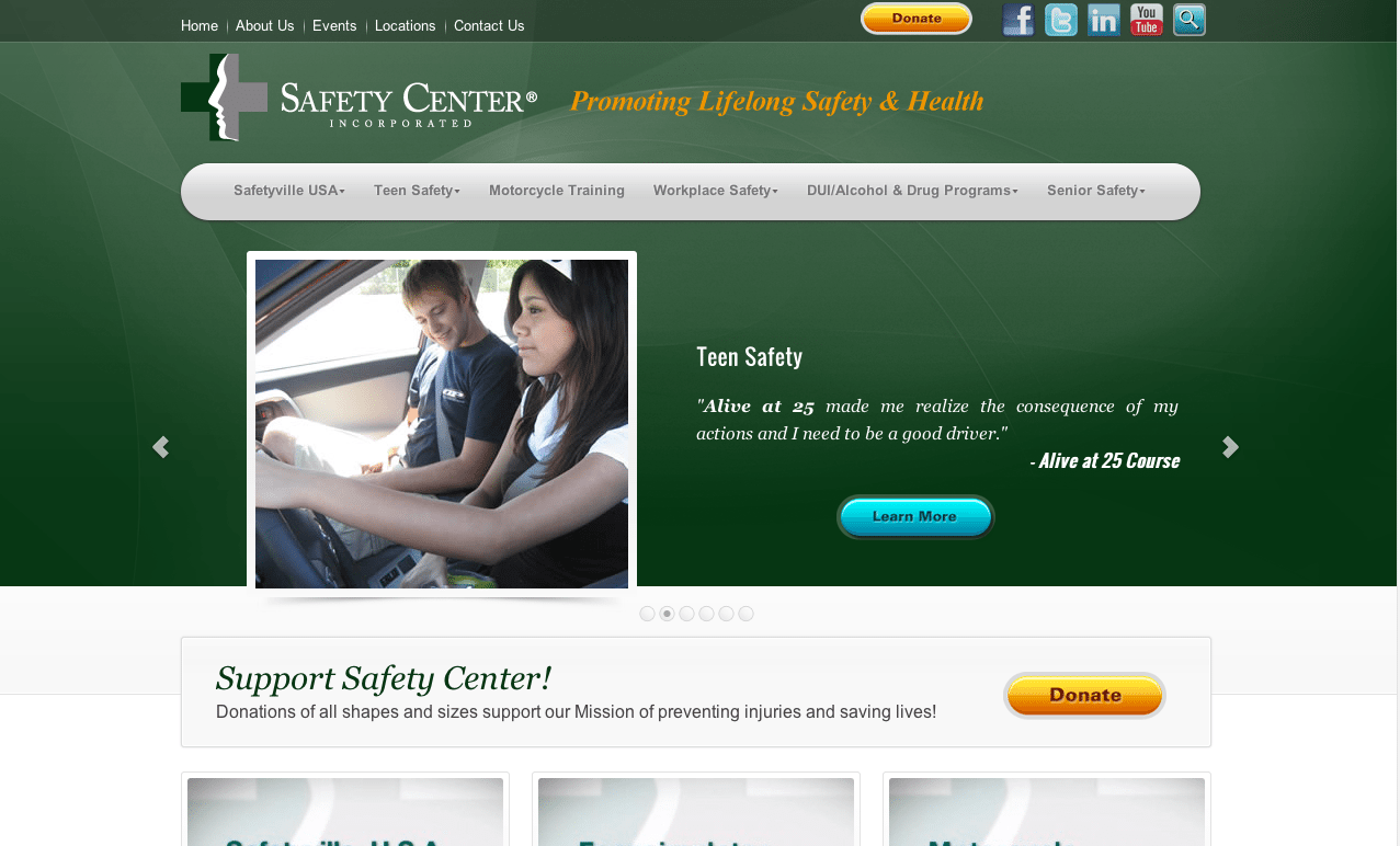 Safety Center Incorporated Screenshot Of Their Website's Homepage With A Teenager Driving A Car Showing Teen Safety With Green Background