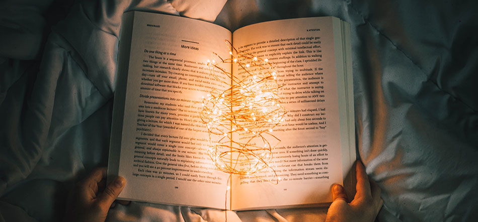 Book Open With Lights In The Center