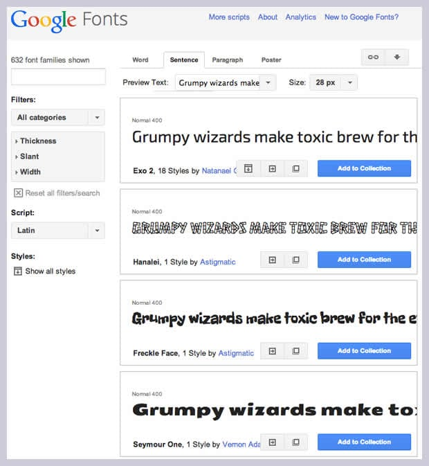 a screenshot of Google Fonts selection
