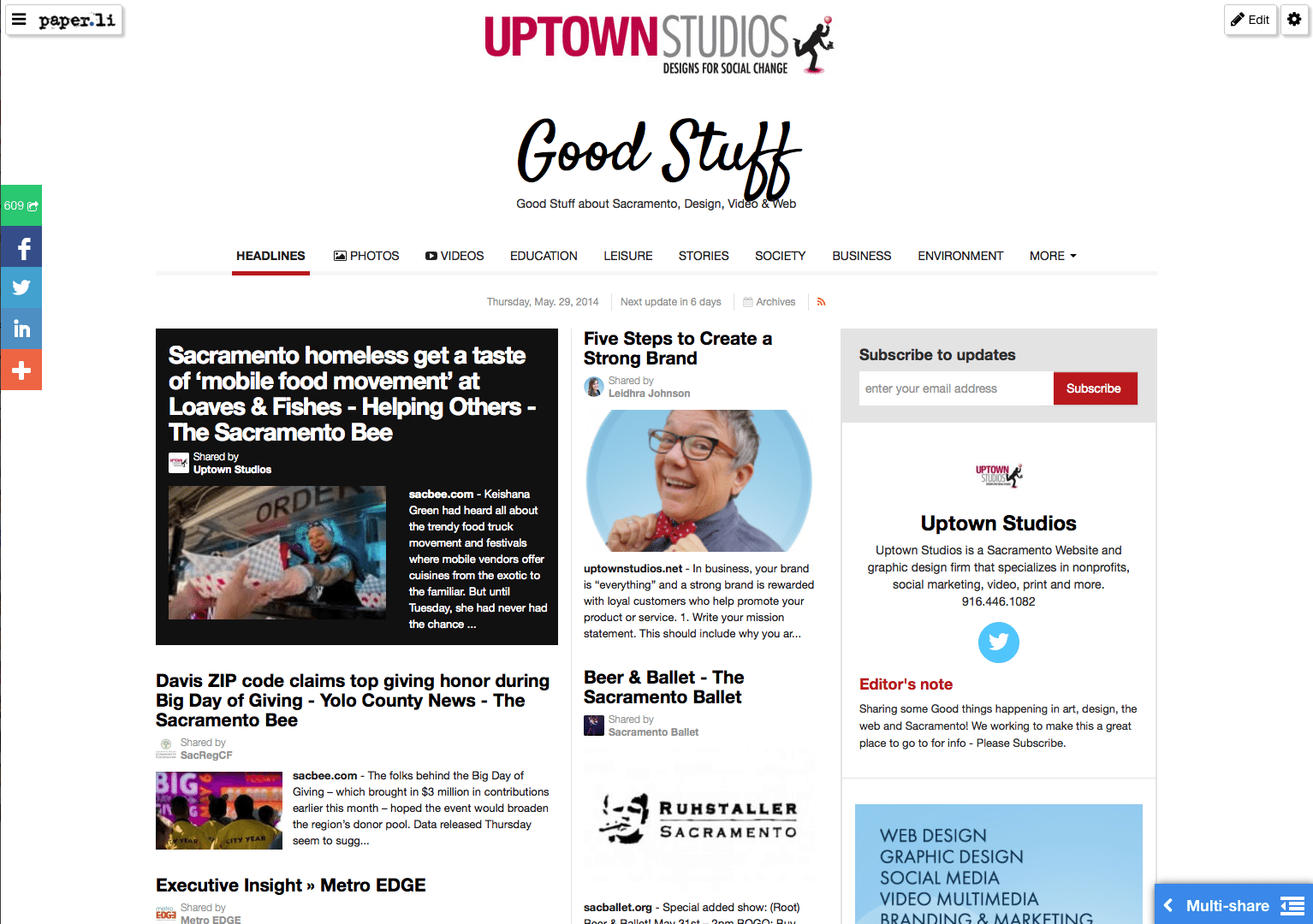 Uptown Studios Paper.li Page With White Background And Newspaper Articles Displayed On Front