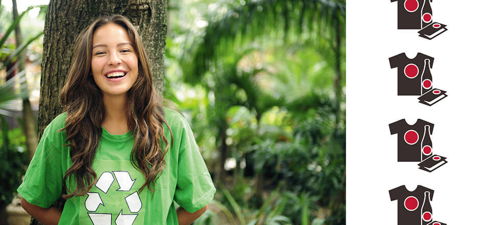 Woman Smiling Wearing Green Recycled Tshirt With Recycled Shirt Icon On Right Side