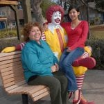 photo of Ronald statue with mother and daughter
