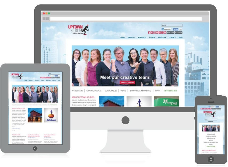 an image of the Uptown Studios website displaying on an iPad, desktop computer, and iPhone with its responsive layout