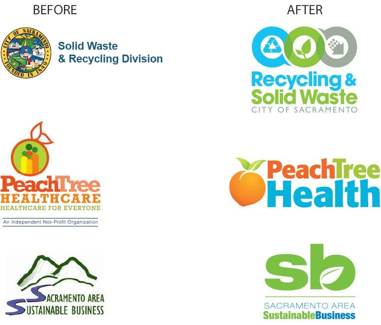 A side by side before and after comparison of logos that have undergone a redesign