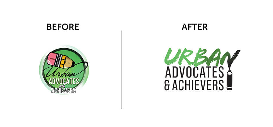Before And After Of Logo Redesign For Urban Advocate Achievers New Logo