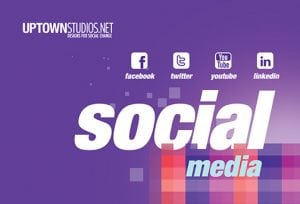 Social Media With Four Icons In Purple As The Background From Uptown Studios