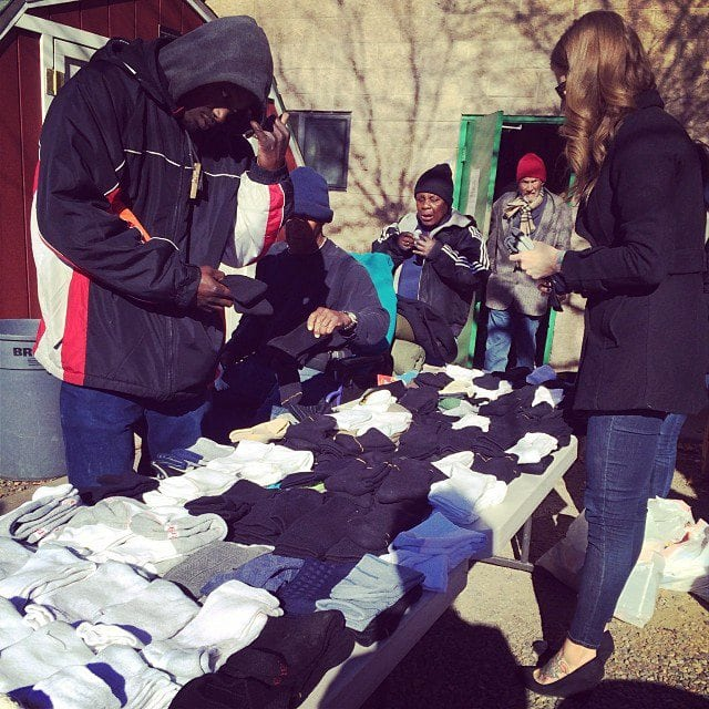 Uptown Studios handing out collected socks