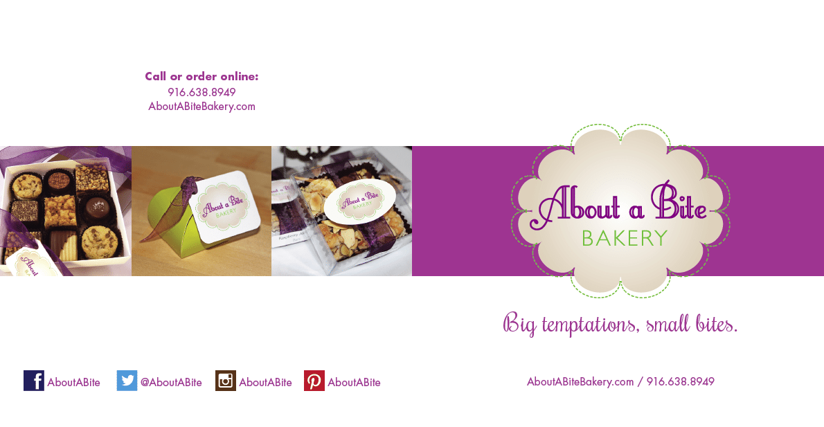 About A Bite Bakery Call Or Order Online Branded With Purple Background And Chocolates To The Left Side