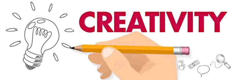 a graphic of a hand drawing a lightbulb with the word CREATIVITY over the top of it