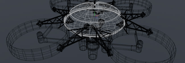 A 3D wireframe of a drone we made for an epic April Fools joke