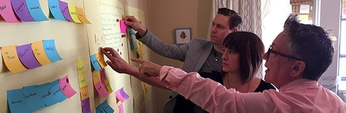an image of Tina Reynolds, Anton Weaver, and another past employee putting post-it notes on the wall during a human-centered design thinking session