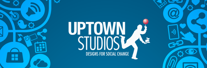 A blue image with graphic of icons on either side and the Uptown Studios logo in the middle