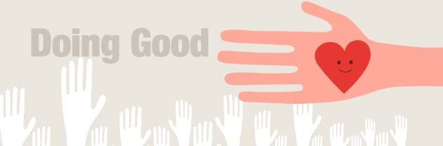 "a graphic with silhouettes of hands on it and the words ""Doing Good"""