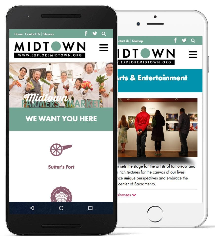 A screenshot of the Midtown Business Association website on mobile devices