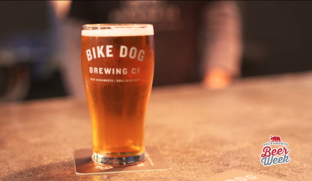a full beer glass with the words Bike Dog written on the side