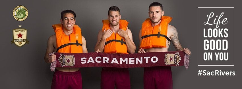 an image of the Life Looks Good On You Billboard graphic we made featuring members of the Sac Republic Soccer team