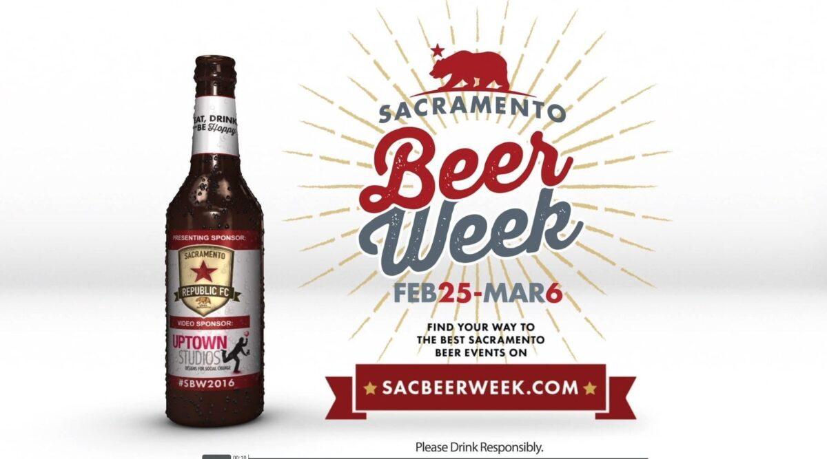 The Sac Beer Week logo next to a bottle of beer