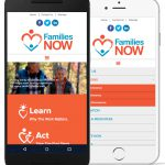A screenshot of the Families NOW website on mobile devices