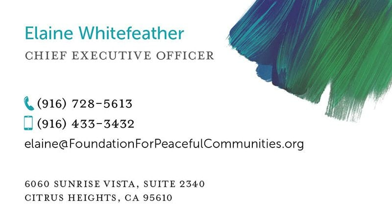 Foundations for Peaceful Communities business card back