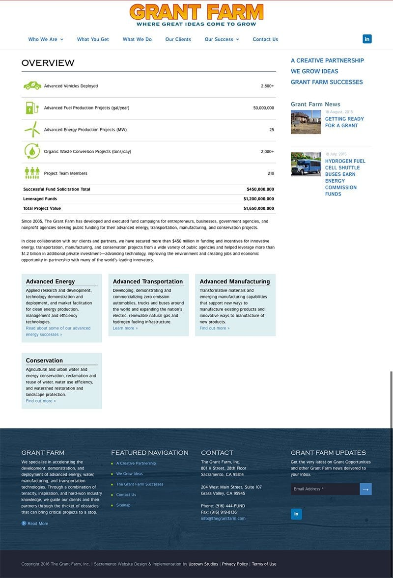 screenshot of the Grant Farm's website internal pages