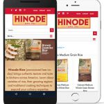 A screenshot of the Hinode Rice website on mobile devices