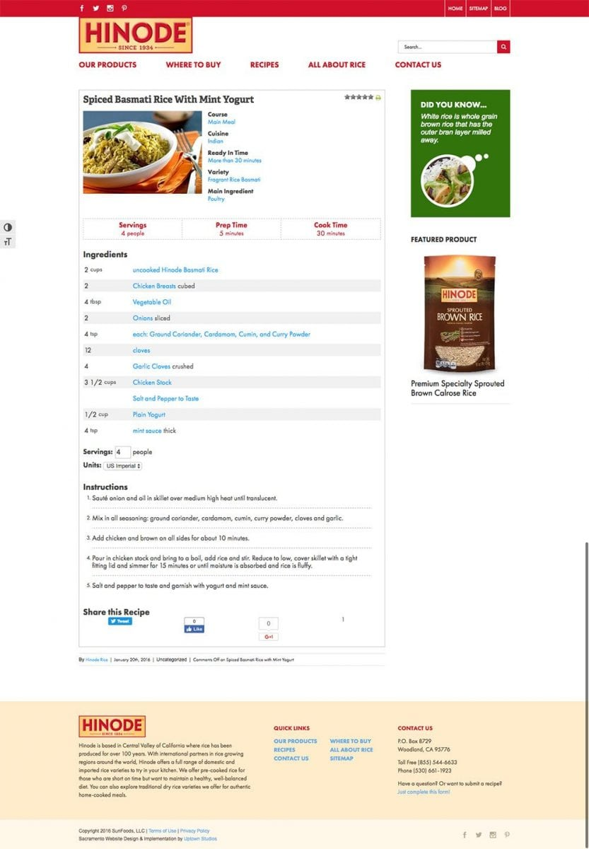 A screenshot of the Hinode Rice website internal page