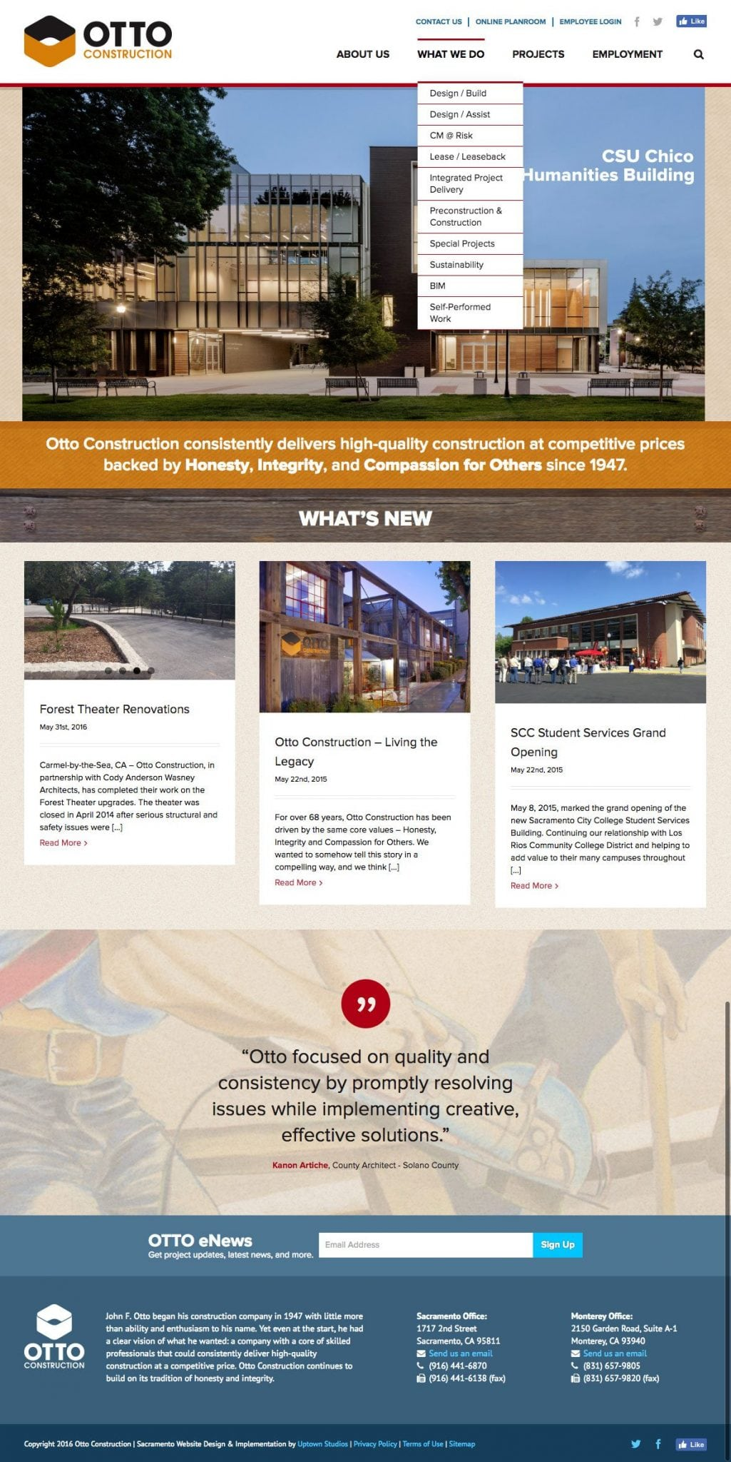 A screenshot of the Otto Construction home page
