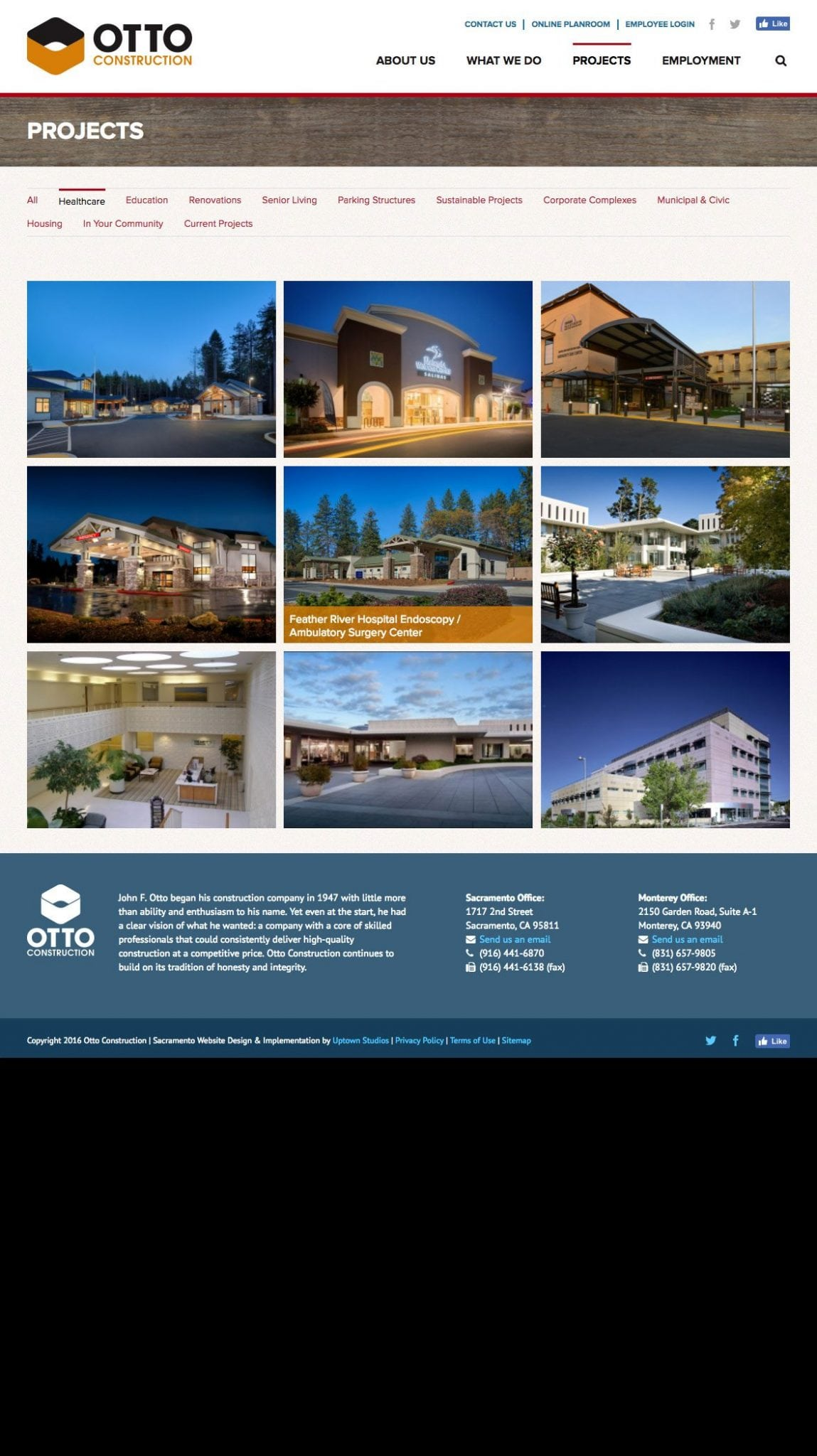 A screenshot of the Otto Construction projects page