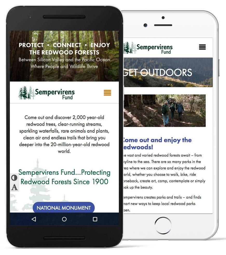 A screenshot of the Sempervirens Fund website on mobile devices