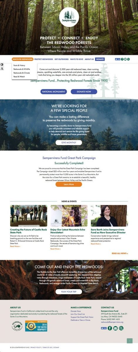 A screenshot of the Sempervirens Fund home page