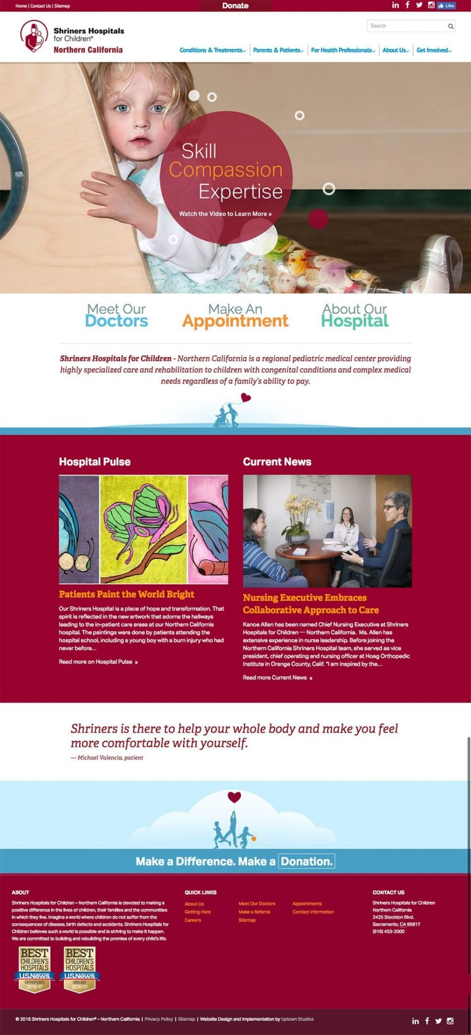 A screenshot of the Shriner's Hospital home page