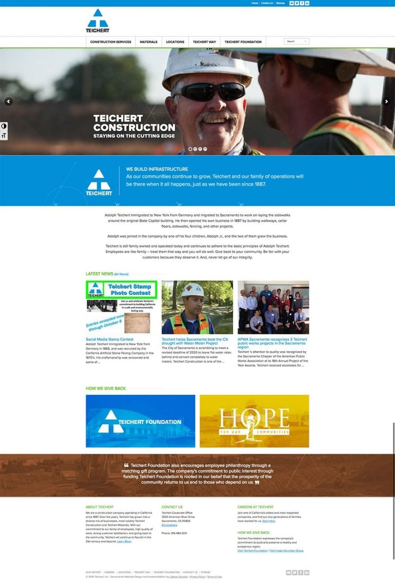 A screenshot of the home page of the Teichert Construction website we built