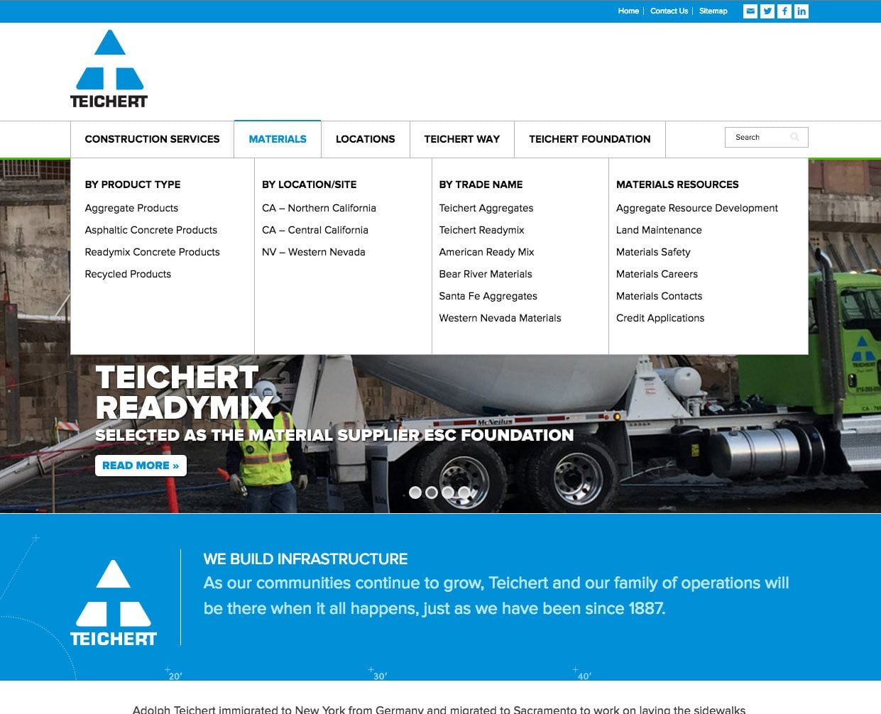 A screenshot of the mega menu on the Teichert Construction website we built