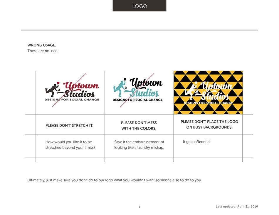 Examples of how to not use Uptown Studios' logo