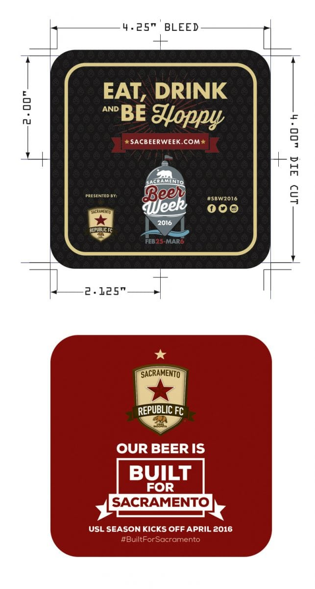 Front and back of the Sacramento Beer Week coasters