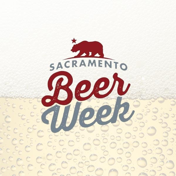 the Sacramento Beer Week logo over the top of a beer in the background