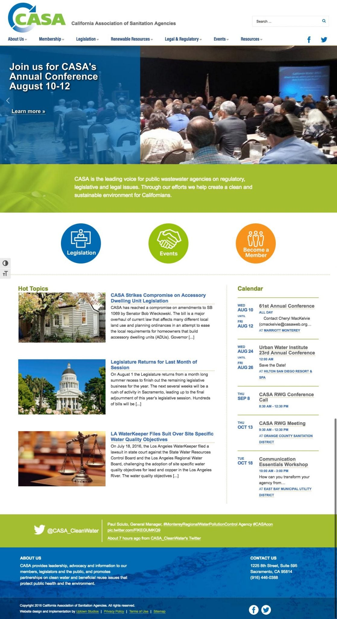 A screenshot of the CASA website
