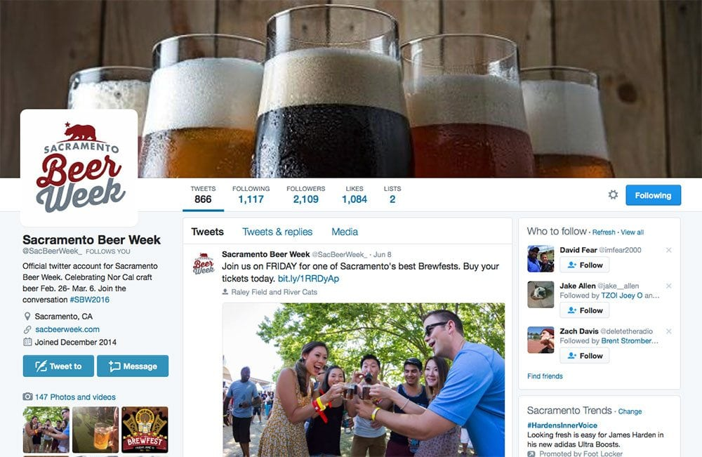 A screenshot of the Sacramento Beer Week Twitter page