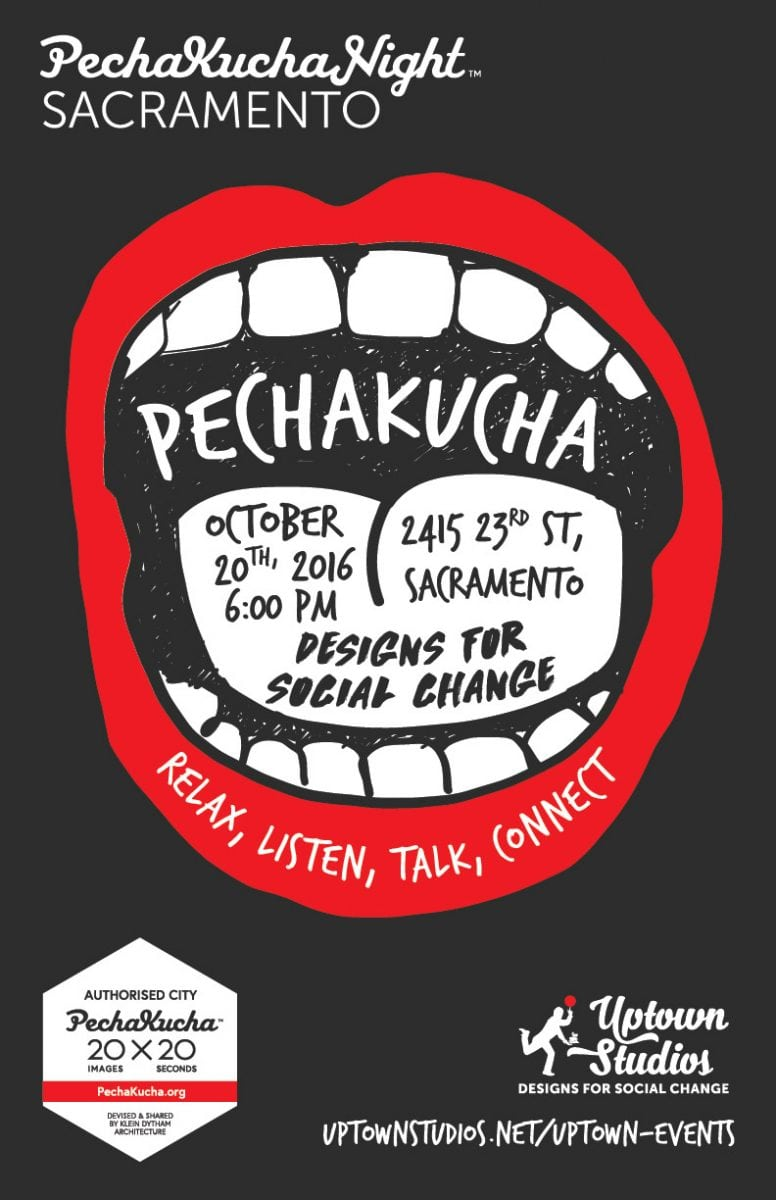 The banner image for the Pecha Kucha event at Uptown Studios