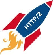 HTTP/2 Blue And Red Rocket Ship Logo With Orange Flames Coming Out Of Jets