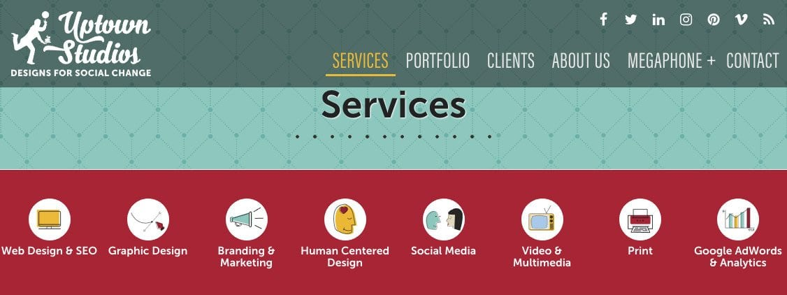 Banner image of the new services page on the uptown studios website