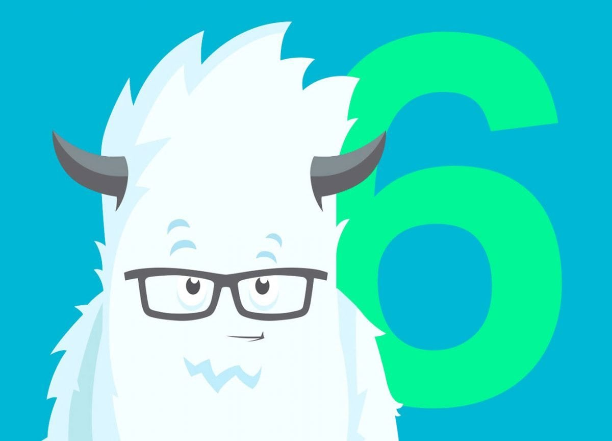 A graphic of the Zurb Foundation Yeti with the number 6 behind it