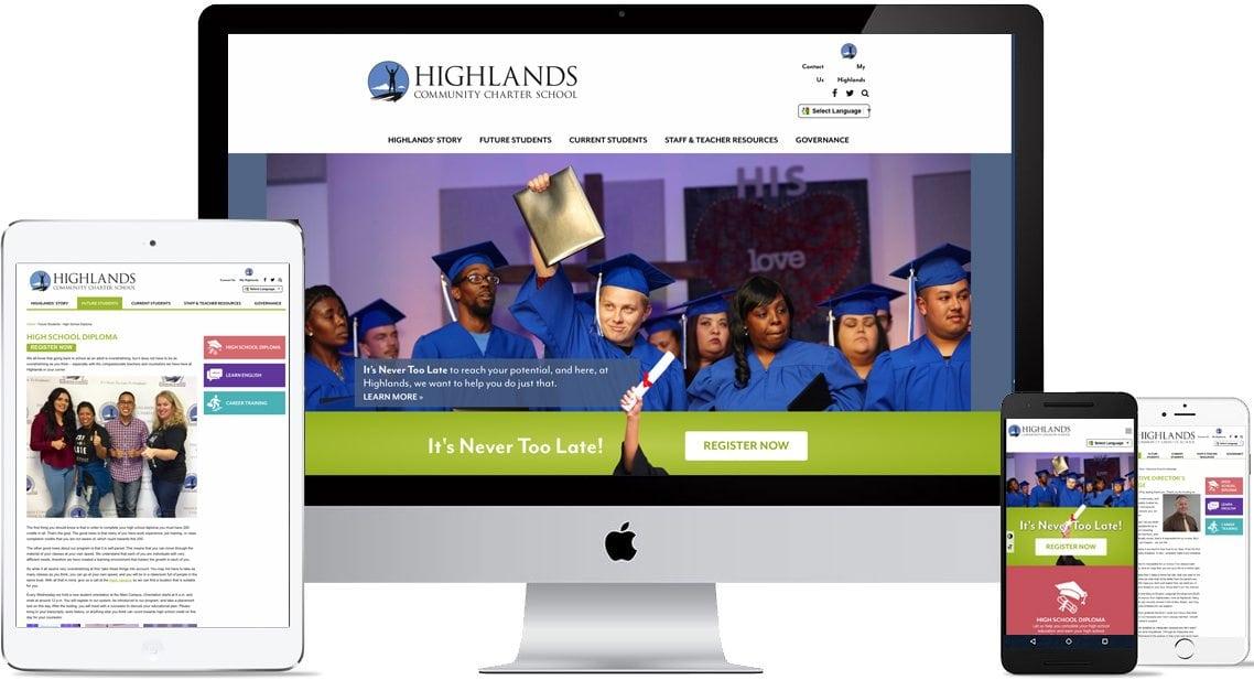 Highlands Charter School website design for mobile and desktop