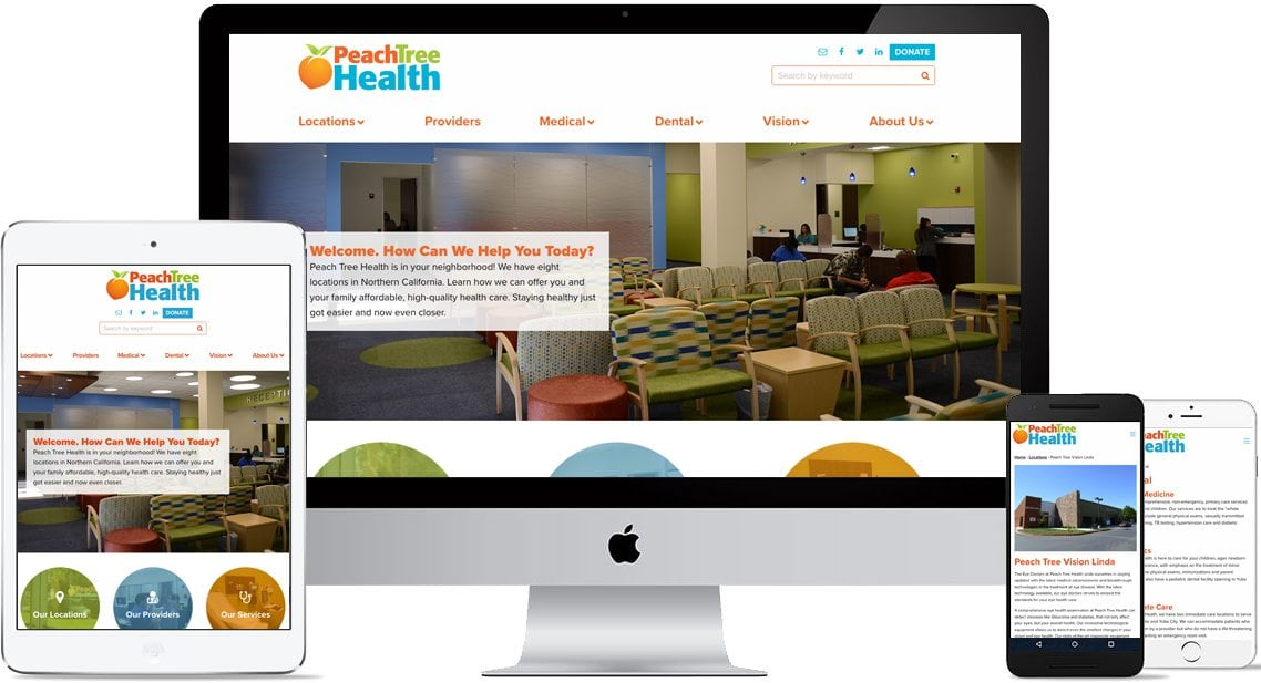 Peach Tree Health Website for mobile and desktop
