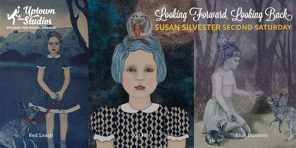 a triptych graphic of Susan Silvester's work that will be showcased at the Second Saturday event at Uptown Studios
