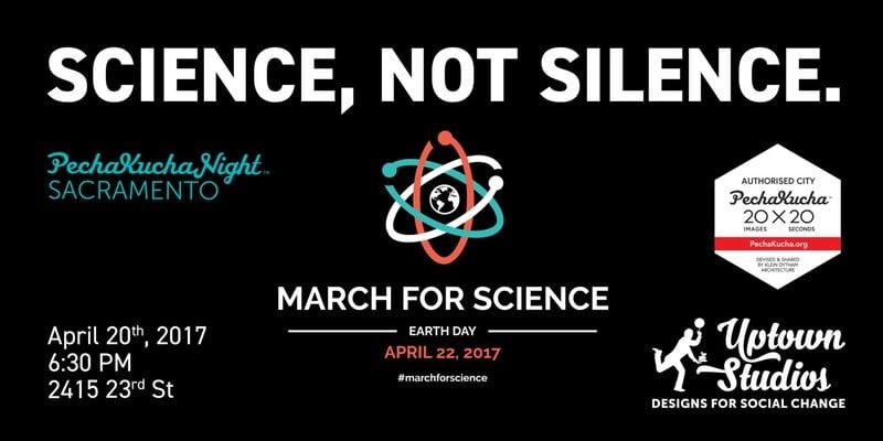 Science, Not Silence graphic for PechaKucha Event